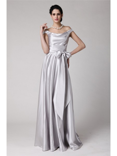Sheath/Column Off-the-Shoulder Floor-Length Sash/Ribbon/Belt Sleeveless Elastic Woven Satin Dresses