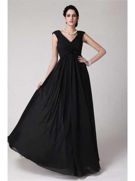 Sheath/Column V-neck Floor-Length Pleats Sleeveless Chiffon Dresses