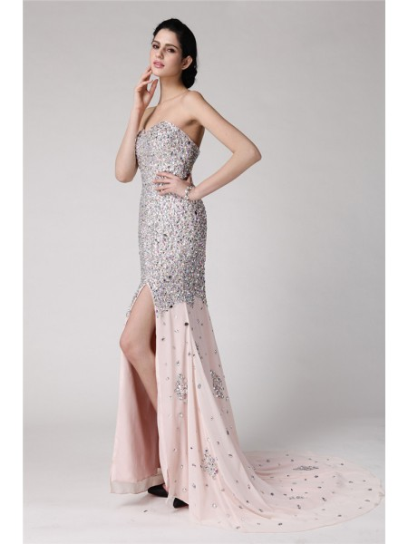 Trumpet/Mermaid Sweetheart Sweep/Brush Train Beading,Rhinestone Sleeveless Chiffon Dresses