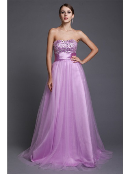 A-Line/Princess Strapless Floor-Length Beading Sleeveless Net Dresses
