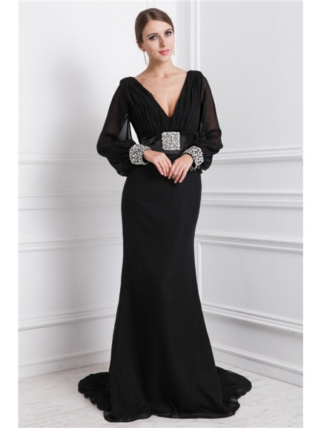 Trumpet/Mermaid V-neck Sweep/Brush Train Beading Long Sleeves Chiffon Dresses
