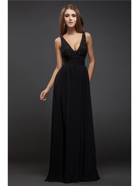 Sheath/Column V-neck Floor-Length Beading,Lace Sleeveless Chiffon Dresses