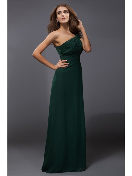 Sheath/Column One-Shoulder Floor-Length Ruffles Sleeveless Chiffon Dresses