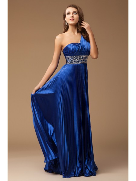 Sheath/Column One-Shoulder Floor-Length Beading Sleeveless Elastic Woven Satin Dresses
