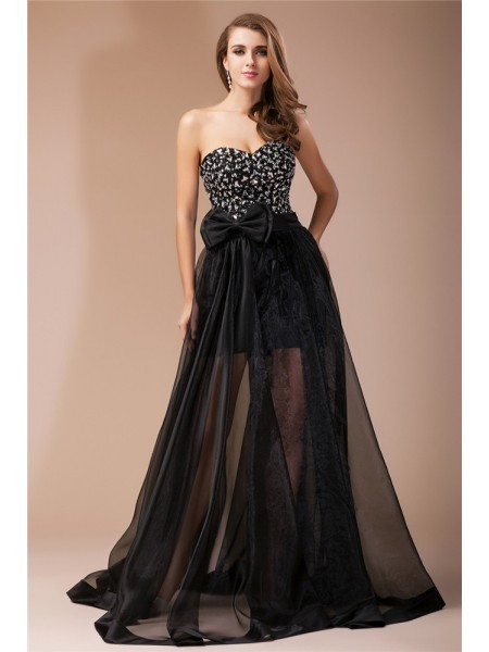 Sheath/Column Sweetheart Floor-Length Beading Sleeveless Elastic Woven Satin,Organza Dresses
