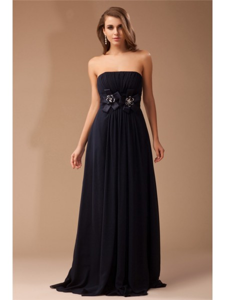 Sheath/Column Strapless Floor-Length Ruffles Sleeveless Chiffon,Elastic Woven Satin Dresses