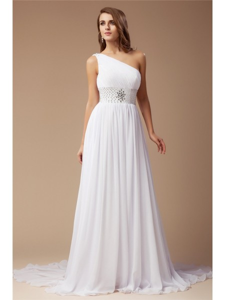 Sheath/Column One-Shoulder Sweep/Brush Train Beading Sleeveless Chiffon Dresses