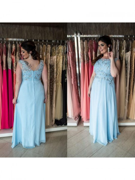 A-Line/Princess Scoop Floor-Length Beading Sleeveless Chiffon Dresses