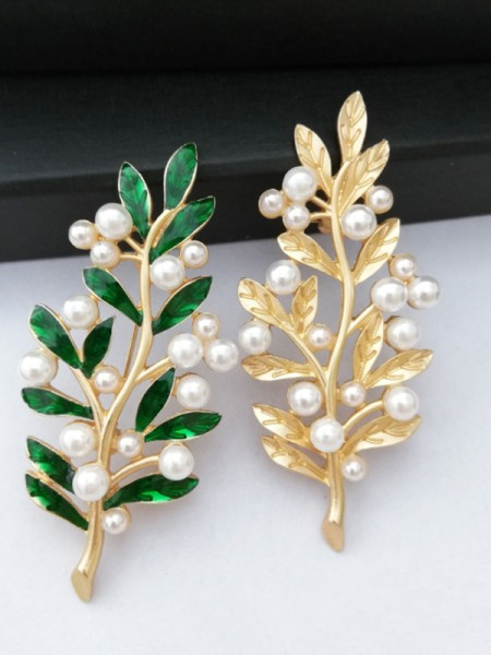 Vintage Alloy With Imitation Pearl Womens Brooch