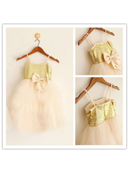 A-Line/Princess Spaghetti Straps Tea-Length Sequin Sleeveless Tulle Flower Girl Dresses