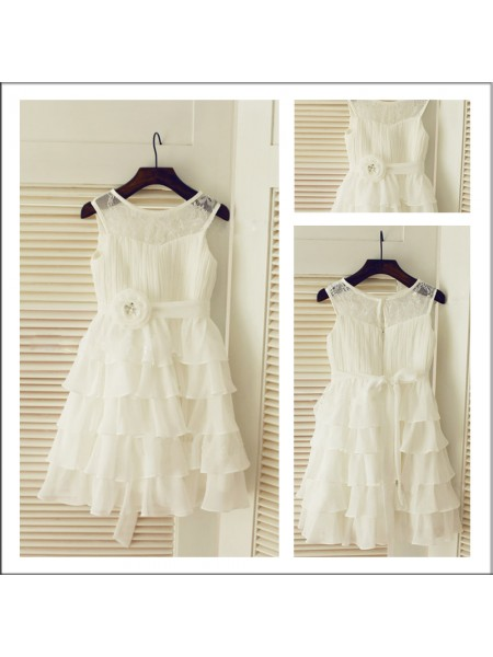 A-Line/Princess Scoop Tea-Length Layers Sleeveless Chiffon Flower Girl Dresses