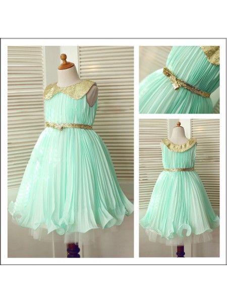 A-Line/Princess Scoop Tea-Length Sequin Sleeveless Chiffon Flower Girl Dresses