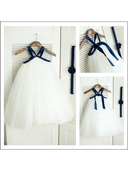 A-Line/Princess Spaghetti Straps Tea-Length Sleeveless Tulle Flower Girl Dresses