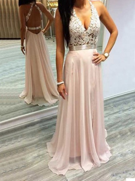A-Line/Princess Sleeveless Chiffon Halter Lace Sweep/Brush Train Dresses