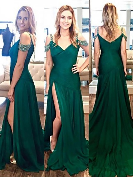 A-Line/Princess Sleeveless Beading Halter Sweep/Brush Train Satin Dresses