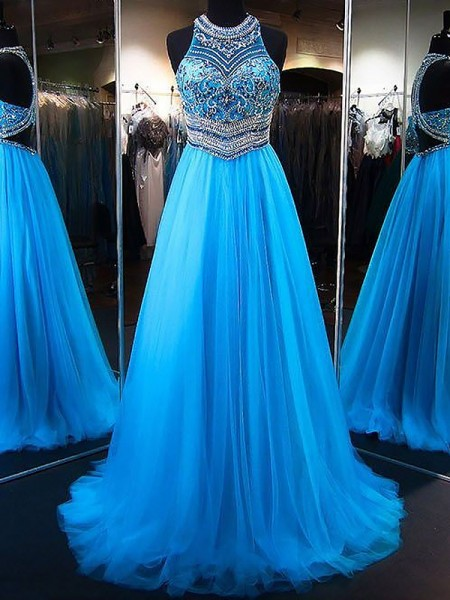 A-Line/Princess Sleeveless Beading Jewel Sweep/Brush Train Tulle Dresses