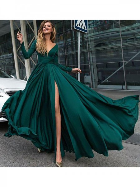 A-Line/Princess Long Sleeves Ruffles V-Neck Floor-Length Satin Chiffon Dresses