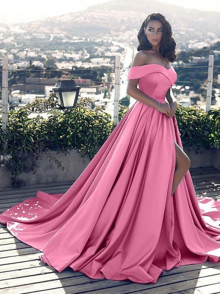 A-Line/Princess Sleeveless Ruffles Off-the-Shoulder Court Train Satin Dresses