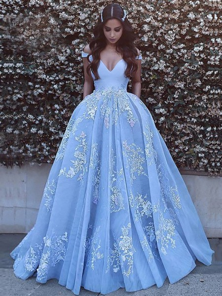Ball Gown Sleeveless Applique Off-the-Shoulder Sweep/Brush Train Tulle Dresses