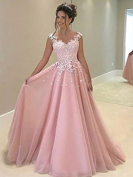 A-Line/Princess Sleeveless Applique Sweetheart Floor-Length Tulle Dresses
