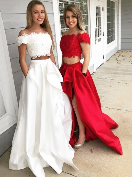 A-Line/Princess Sleeveless Lace Off-the-Shoulder Sweep/Brush Train Satin Dresses