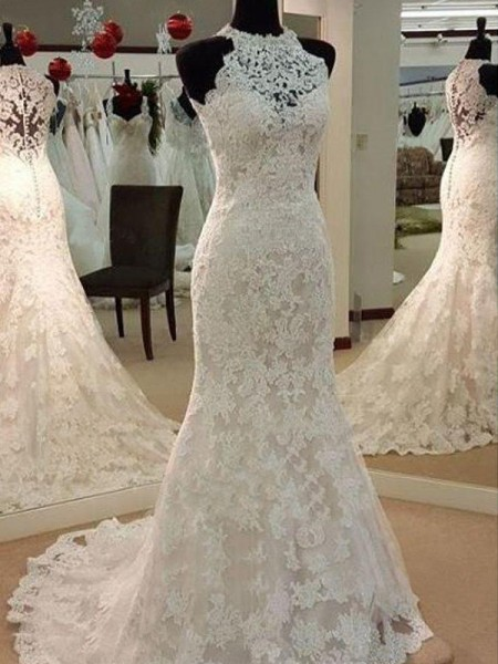 Sheath/Column Sleeveless Scoop Lace Sweep/Brush Train Applique Wedding Dresses