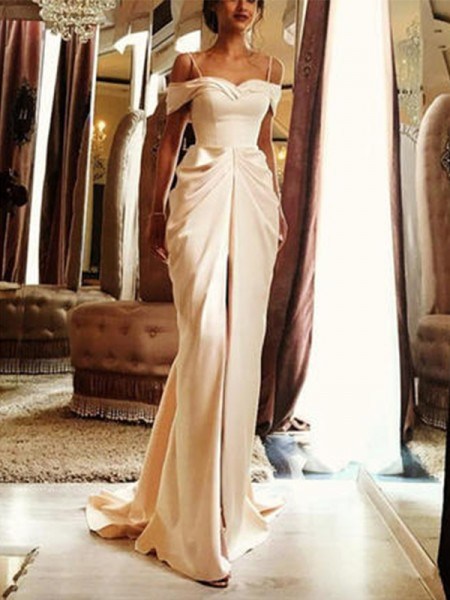 Sheath/Column Short Sleeves Off-the-Shoulder Silk Like Satin Sweep/Brush Train Ruffles Wedding Dresses