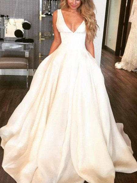 A-Line/Princess Sleeveless V-neck Satin Sweep/Brush Train Ruffles Wedding Dresses