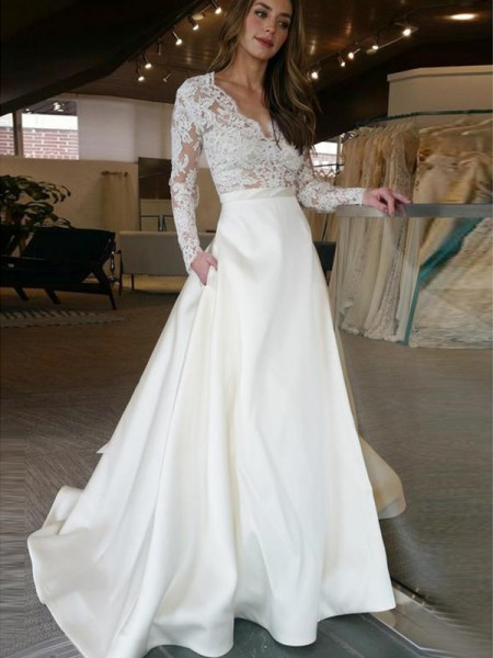 A-Line/Princess Long Sleeves V-neck Satin Sweep/Brush Train Applique Wedding Dresses