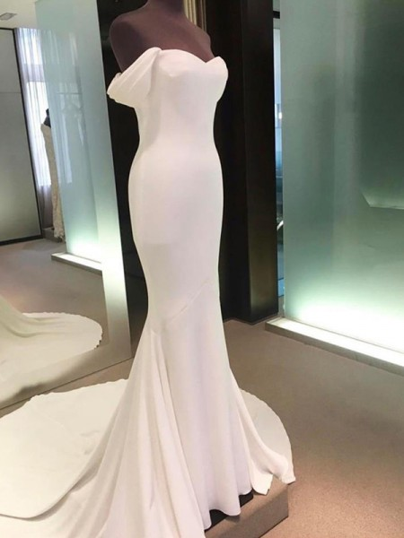 Sheath/Column Short Sleeves Off-the-Shoulder Satin Court Train Wedding Dresses