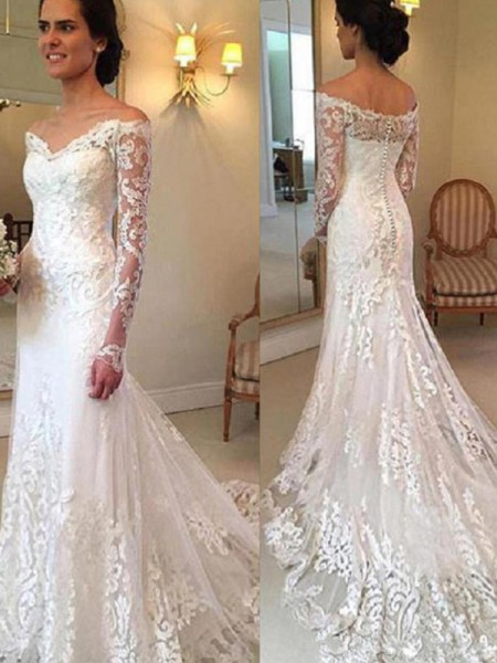 Trumpet/Mermaid Long Sleeves Off-the-Shoulder Lace Court Train Applique Wedding Dresses