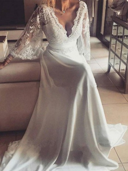 A-Line/Princess Long Sleeves V-neck Lace Court Train Sash/Ribbon/Belt Wedding Dresses