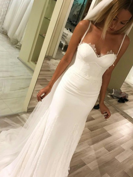 Sheath/Column Sleeveless Sweetheart Satin Sweep/Brush Train Wedding Dresses