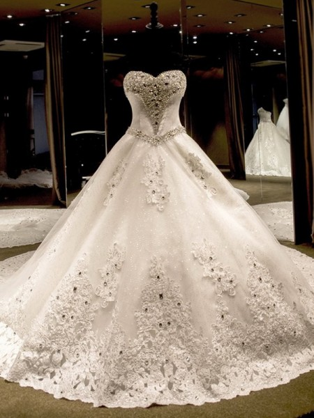 Ball Gown Sleeveless Sweetheart Tulle Cathedral Train Sequin Wedding Dresses