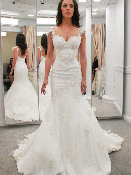 Trumpet/Mermaid Short Sleeves Sweetheart Lace Chapel Train Applique Wedding Dresses