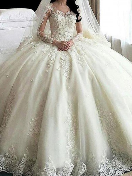 Ball Gown Long Sleeves Scoop Tulle Cathedral Train Applique Wedding Dresses