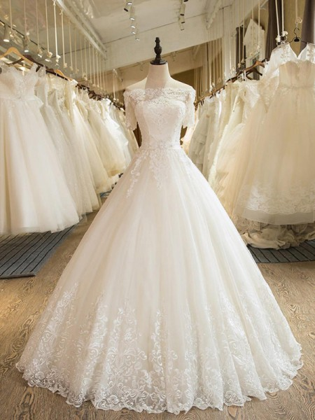 Ball Gown 1/2 Sleeves Off-the-Shoulder Tulle Floor-Length Applique Wedding Dresses