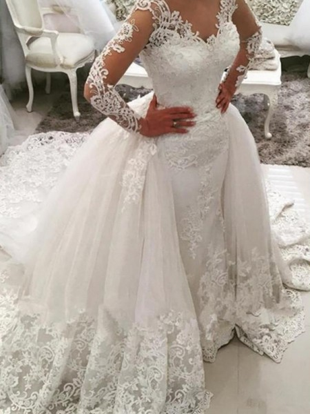 Ball Gown Long Sleeves V-neck Tulle Cathedral Train Applique Wedding Dresses