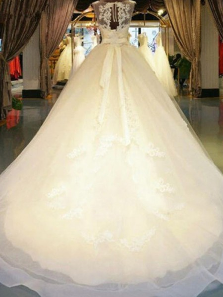 Ball Gown Sleeveless Off-the-Shoulder Lace Sweep/Brush Train Beading Wedding Dresses