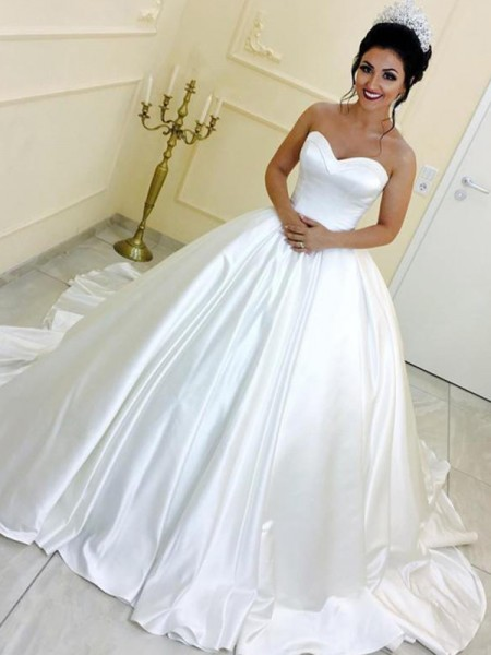 Ball Gown Sleeveless Sweetheart Satin Cathedral Train Sash/Ribbon/Belt Wedding Dresses