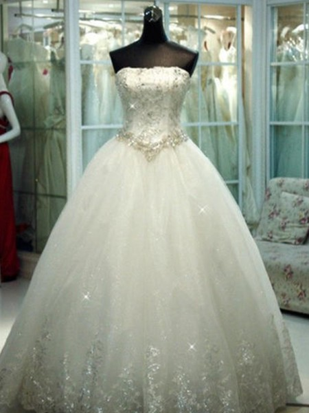 Ball Gown Sleeveless Strapless Tulle Floor-Length Beading Wedding Dresses