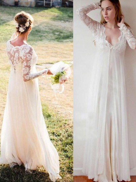 Empire Long Sleeves V-neck Chiffon Floor-Length Wedding Dresses