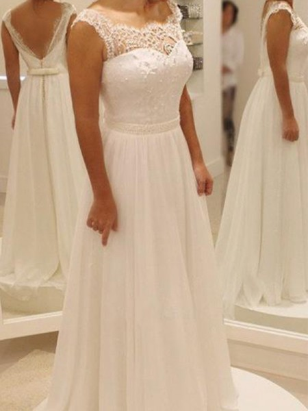 A-Line/Princess Sleeveless Scoop Chiffon Sweep/Brush Train Wedding Dresses