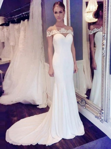 Trumpet/Mermaid Sleeveless Scoop Chiffon Court Train Wedding Dresses