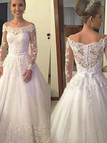 Ball Gown Long Sleeves Off-the-Shoulder Tulle Court Train Applique Wedding Dresses