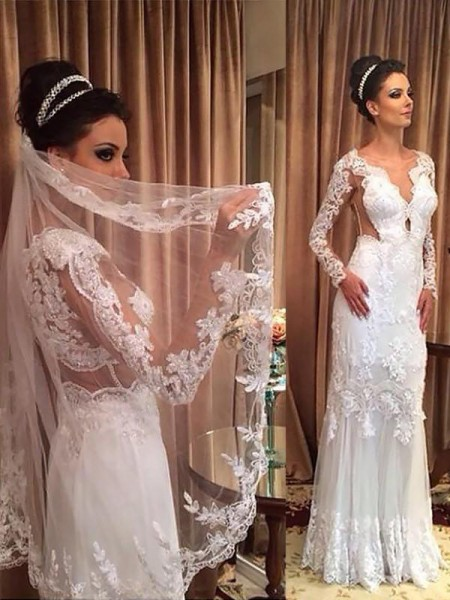 Sheath/Column Long Sleeves V-neck Tulle Sweep/Brush Train Applique Wedding Dresses