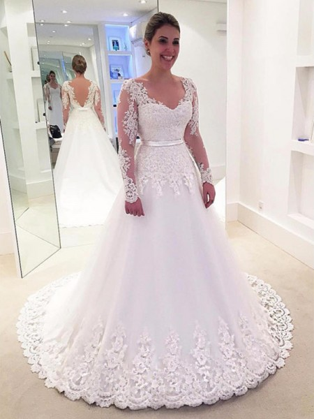 A-Line/Princess Long Sleeves V-neck Tulle Sweep/Brush Train Applique Wedding Dresses