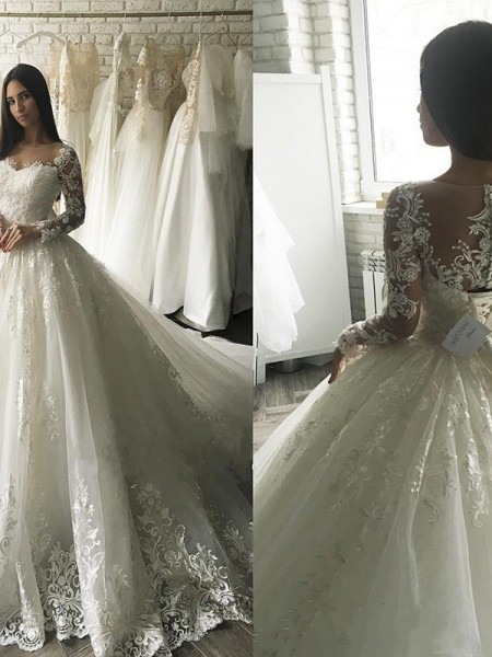Ball Gown Long Sleeves Scoop Tulle Court Train Applique Wedding Dresses