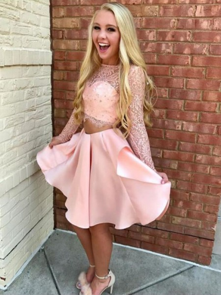 A-Line/Princess High Neck Long Sleeves Short/Mini Lace Satin Two Piece Dresses