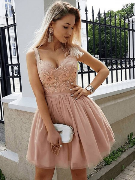 A-Line/Princess Short/Mini Straps Beading Sleeveless Tulle Cocktail Party Dresses